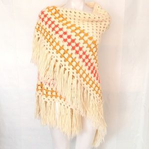 Hand Crocheted Triangle Fring Wrap Scarf Poncho